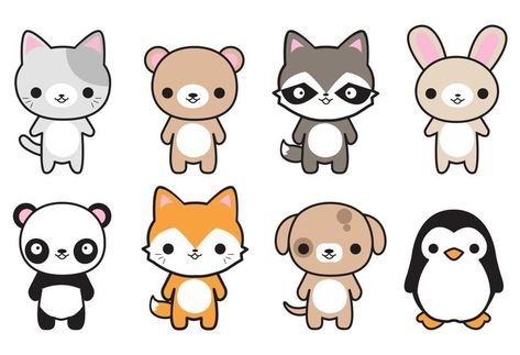 Premium Vector Clipart - Cute Animals - Kawaii Animals - Cute - Cat - Dog - Bunny - Fox - Penguin - Panda - Bear - Instant Download