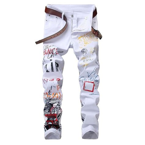 Mens Fashion Floral Printing Long Trousers Hip Hop Cotton Slim Fit Skinny Pants