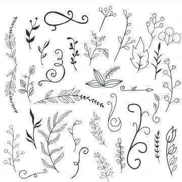 Set Of 50 Doodle Botanical Elements Png Doodle Floral Clipart Svg Doodle Floral Hand Drawn Botanical Clipart Botanical Doodle Set Doodle Art Flowers Small Flower Drawings Vine Drawing