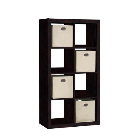 31 In W X 58 In H 8 Cube Organizer With 4 Fabric Bins Brown