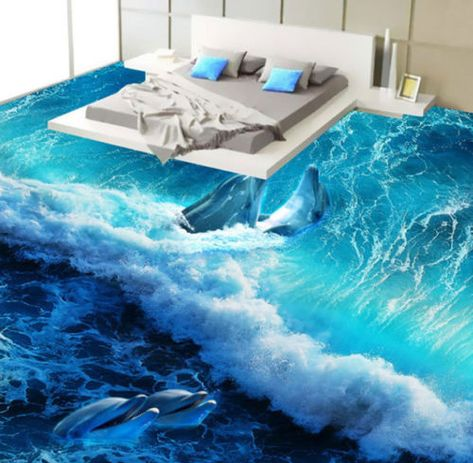 3D синяя океанская волна Дельфин пол фрески фото полы обои печать настенная наклейка