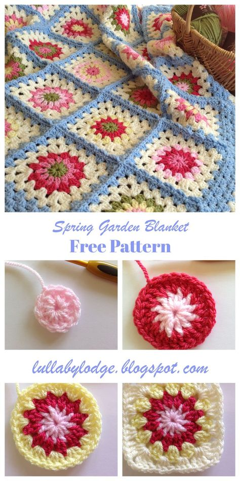Inspired by Cath Kidston's gorgeous colour combinations, learn how to make this pretty crochet flower blanket. Free crochet pattern suitable for an advanced beginner. Step by step guide with helpful round by round photos. Available in 2 sizes… Granny Square Crochet Pattern, Crochet Flower Patterns, Afghan Crochet Patterns, Crochet Squares, Crochet Motif, Crochet Flowers, Free Crochet, Knitting Patterns, Granny Squares