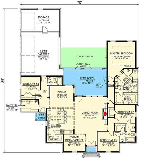 Plan 56427sm Charming French Country House Plan With Open Concept Living Space French Country House Country French Floor Plans French Country House Plans