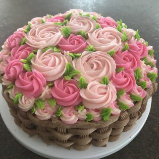 Another Version Of Basket Of Flowers Cake With Nutella Frosting And Frosting Flowers Chocolate Cake Decoration Cake Decorating Cake Decorating Designs
