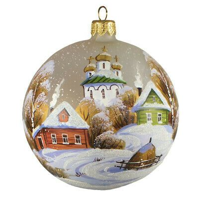 3 9 Winter Village Church Christmas Glass Ball Ornament Handmade In Russia Handmade Ornaments Glass Ball Ornaments Ball Ornaments