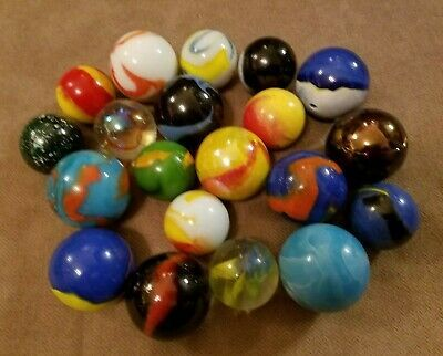Ad Lot Of 20 Mcm Hand Made Artisan Marbles 1 3 8 1 75 In 2020 Handmade Artisan Marble