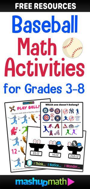 Math Baseball Free Learning Activities For Grades 1 8 Mashup Math Kids Math Worksheets Math Math Word Problems