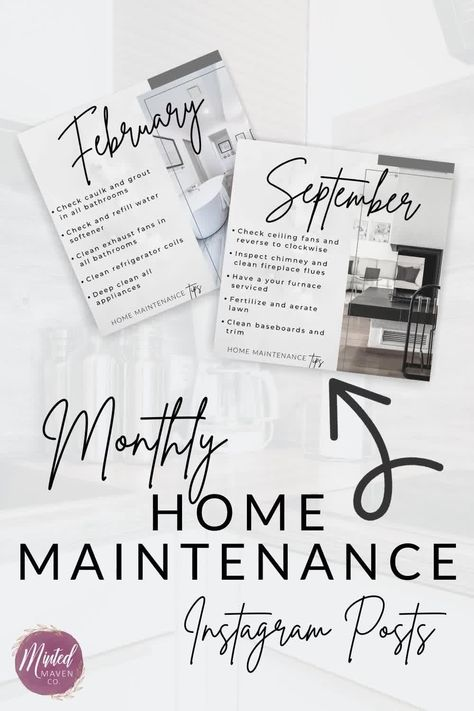 Monthly Home Maintenance Instagram Posts for Realtors, Real Estate Social Media and Marketing