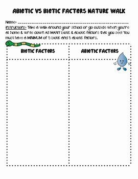Abiotic And Biotic Factors Worksheet Unique Abiotic Vs Biotic Factors Nature Walk By Smith Science And Abiotic Interactive Science Notebook Science Curriculum