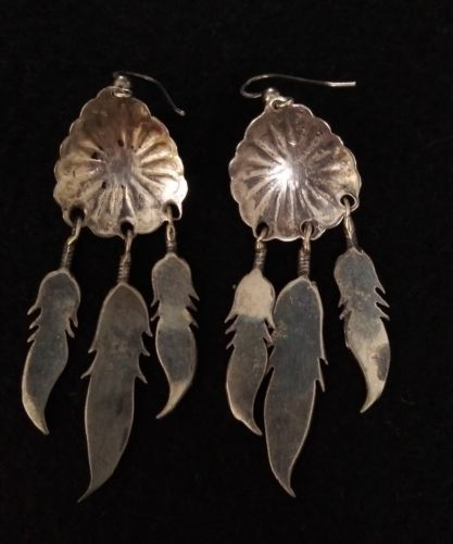 Marvin Arviso Sterling Silver Feather Dangle Earrings Navajo .925 Jewelry