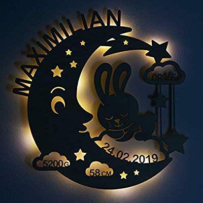Laublust Schlummerlicht Mond Hase Personalisiertes Baby Geschenk Zur Geburt Taufe Led Hintergrund Beleuchtung Amazon De Baby