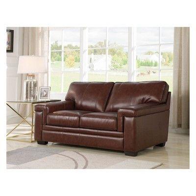 Tremendous Evan Top Grain Leather Sofa And Loveseat Brown Abbyson Ibusinesslaw Wood Chair Design Ideas Ibusinesslaworg