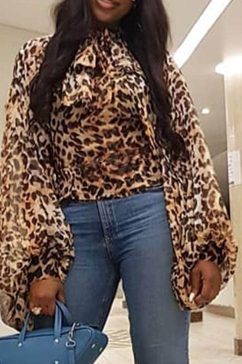 Leopard Long Lantern Sleeve Blouse