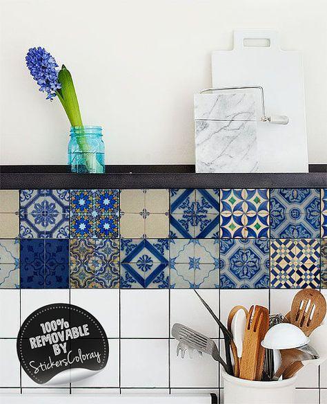 Backsplash 24 PC Set tile Stickers wall decals Kitchen decals Bathroom TILE H405
