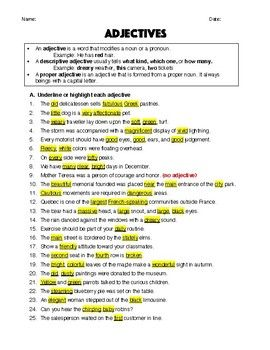 Adjectives Worksheet Answer Key Middle School High School