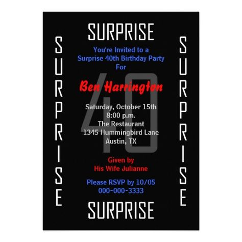 surprise 40th birthday party invitation 40 jeovanys pinterest