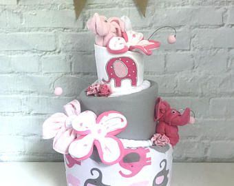 Elephant Diaper Cake Pink /& Gray Elephant Baby shower centerpiece Baby Sprinkle Gift Monogrammed Baby Gift Pink Elephant baby shower