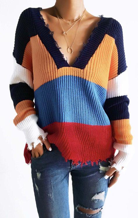 $42.99 Chicnico Color Block Frayed Hem Sweater