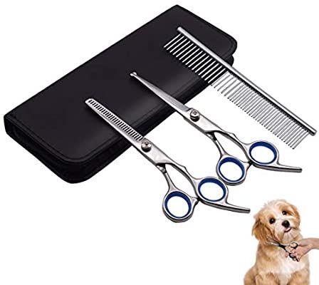 Amazon Com Petqoo Dog Grooming Scissors Kit Professional Pet Grooming Scissors Set With Straight And Thinni In 2020 Dog Grooming Scissors Dog Grooming Pet Grooming