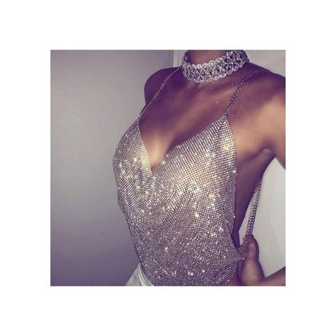 5b712279dc5975 Silver Shiny Rhinestones Halter Plunge Chain Mail Crop Cami Top ( 20) ❤  liked on Polyvore featuring tops
