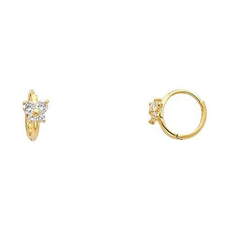 14k Yellow Gold Flower CZ Huggie Earrings 10 x 10 mm