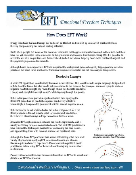 EFT SHORCUT CHART IN ENGLISH #eft #tapping #chart