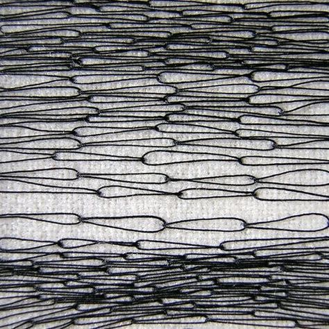 Modern monochrome embroidery sample with chain link stitch detail - textiles surface techniques; sewing \/\/ Roanna Wells