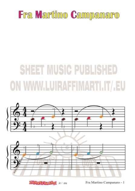 Fra Martino Campanaro Dormi Tu Grandi Note Colorate Per Pianoforte Nel 2020 Pianoforte Educazione Musicale Campanari