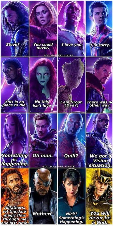 The Last Words Of The People Who Died In Infinity War Marvel Funny Funny Marvel Memes Marvel Avengers