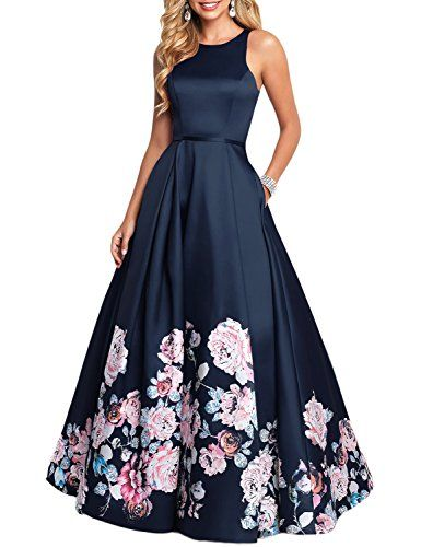 5dbbad9a1f8809 YSMei Women's Vintage Floral Print Long Prom Dress A line Evening Dress