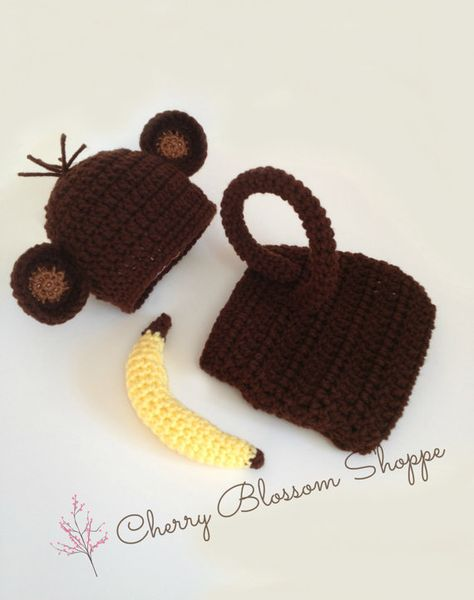Monkey Outfit Monkey Set Newborn Monkey Hat by CherryBlossomShoppe, $40.00