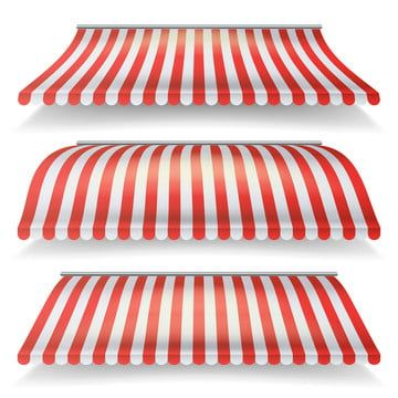 Classic Red And White Awning Vector Set Realistic Store Awning Isolated On White Background Illustration Red And White Stripes Classic Red Red