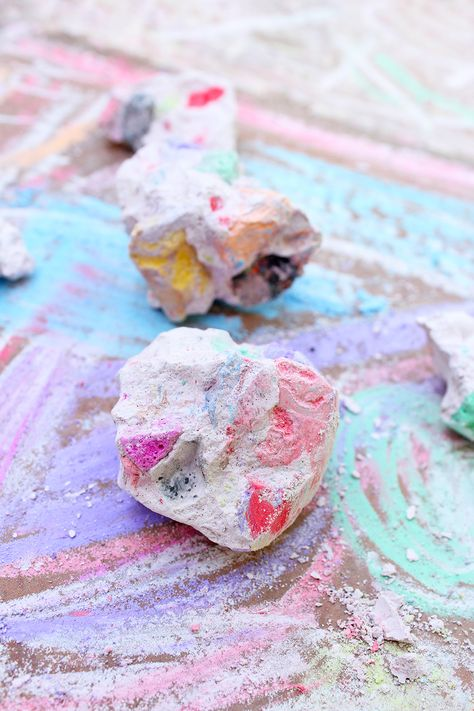 Make chalk rocks out of the leftover bits and pieces of chalk you have lying around! Full tutorial found on BABBLE DABBLE DO #chalk #kidsactivities #kidsart