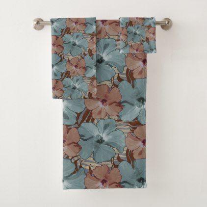 Tropical Hibiscus Floral Pattern Neutral Gray Rust Bath Towel Set