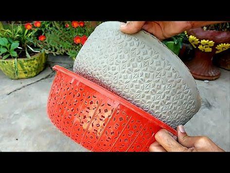 Amazing creative Design beautiful flower pots at home Diy Cement Planters, Cement Flower Pots, Concrete Pots, Concrete Crafts, Concrete Projects, Garden Crafts, Garden Projects, Home Crafts, Diy Projects