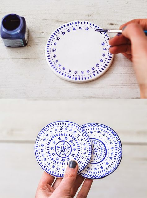 Diy Crafts - Poppytalk: 9 Weekend Projects to Try - DIY Coasters Make these pretty coasters out of polymer clay and porcelain paint. From The Lovely Ceramic Painting, Diy Painting, Porcelain Painting Ideas, Polymer Clay Painting, Porcelain Pens, Interior Painting, China Painting, Fine Porcelain, Ceramic Art