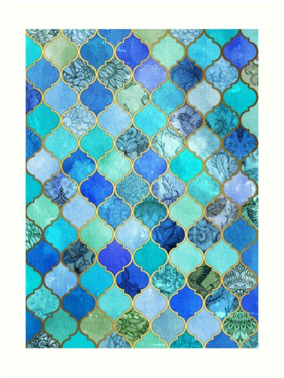 Cobalt Moroccan Tile Pattern als Acrylglasbild