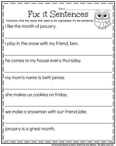 Grade Worksheets for January First Grade January worksheets - Fix it Sentences for Capitalization.First Grade January worksheets - Fix it Sentences for Capitalization. Punctuation Worksheets, Language Arts Worksheets, English Grammar Worksheets, First Grade Worksheets, Worksheets For Kids, Writing Sentences Worksheets, 1st Grade Activities, Making Sentences, Grammar