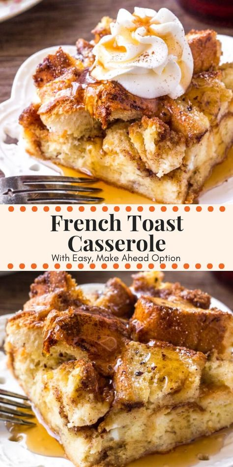 Brunch Recipes 84238 French Toast Casserole with cinnamon sugar topping is soft and fluffy on the inside, and golden brown on top. Make it overnight and bake in the morning, or you can prepare it in the morning. Even more delicious than French toast! Breakfast For A Crowd, Perfect Breakfast, Breakfast Dishes, Breakfast Casserole French Toast, Brunch Casserole, Brunch Ideas For A Crowd, Casserole Recipes, Easy Brunch Recipes, Yummy Breakfast Ideas