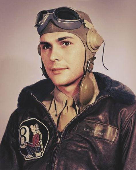 1944 Flying Wearing a Flight Jacket.