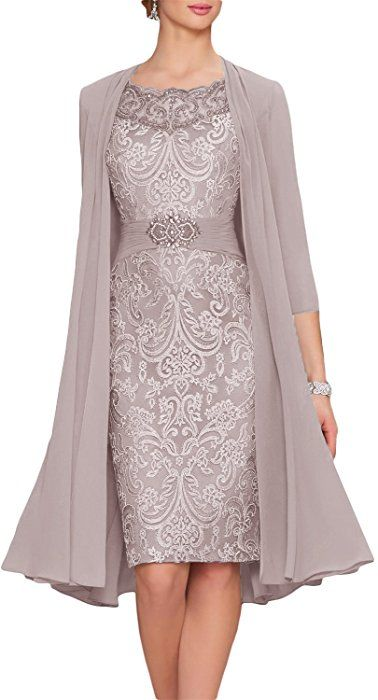 Newdeve Chiffon Mother Of The Bride Dresses Tea Length Two Pieces With Jacket At Amazon Women S Clothing Stor Bride Clothes Women Lace Dress Tea Length Dresses