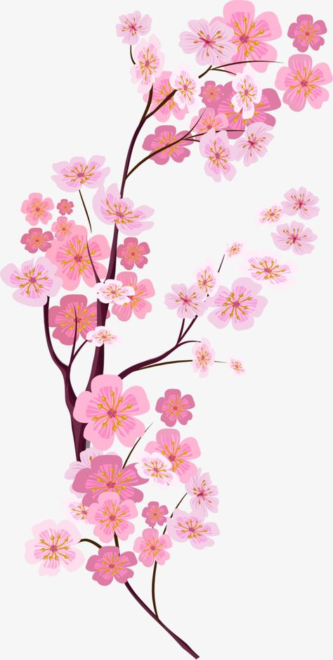 Vector,Hand Painted,Pink cherry blossoms,dream,painted vector,pink vector,cherry vector,blossoms vector