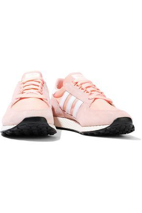 Adidas Originals Woman Forest Grove Shell And Suede Sneakers ...