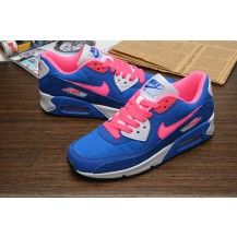 womens Nike Air Max 90 Blue Pink White Shoe