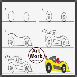 رسومات اطفال سهلة بسيطة تعليم الرسم للأطفال سيارة سباق للتلوين Easy Drawings Art Car Drawings