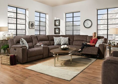 Corinthian Imprint Cocoa Sectional (With images)   Power