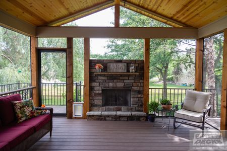 Gable Roof Over Deck Screened In Deck Fireplace In 2020 Patio Pictures Covered Decks Patio Oasis Ideas