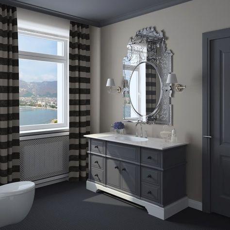 Salle de bain peinte de bleu gris et gris taupe avec son ...