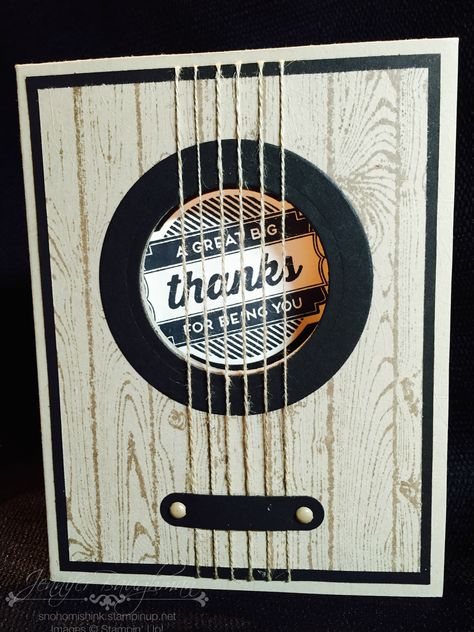 Masculine guitar card... rock on!! Hardwood, Oh My Goodies. By Jennifer Baughman, Independent Stampin' Up! Demonstrator