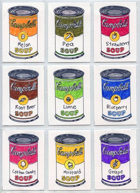 Art Projects for Kids: Warhol Art Trading Cards--soup can template included--great sub plan